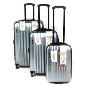 "Constellation Athena ABS Hard Shell 3 Piece Suitcase Set, 20"", 24"" & 28"", Silver"