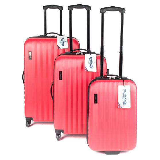 Constellation LG00404PINKSDMIL Eclipse ABS Hard Shell Suitcase Set, 20?, 24? & 28?, Pink