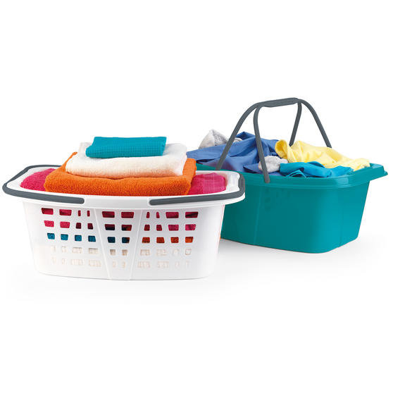 Beldray Plastic Laundry Baskets with Handles, Set of 4, Turquoise/White