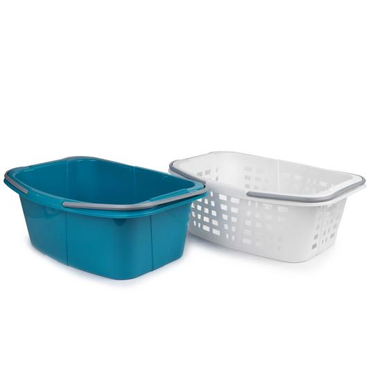Beldray Plastic Laundry Baskets with Handles, Set of 4, Turquoise/White Thumbnail 2