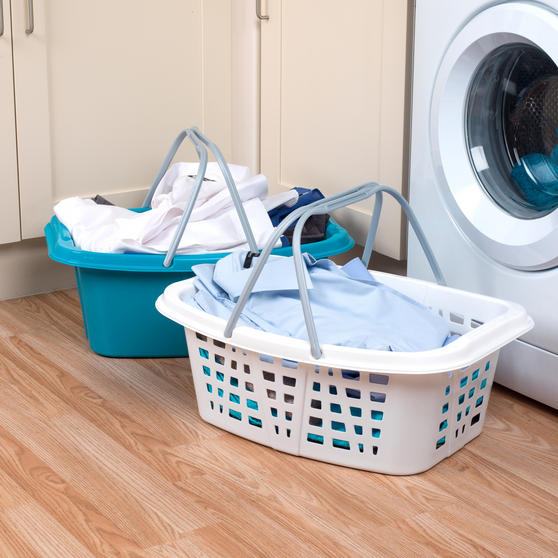 Beldray Plastic Laundry Baskets with Handles, Set of 4, Turquoise/White Thumbnail 3