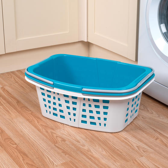 Beldray Plastic Laundry Baskets with Handles, Set of 4, Turquoise/White Thumbnail 5