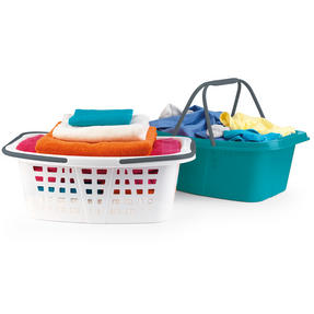 Beldray COMBO-2287 Plastic Laundry Baskets with Handles, Set of 4, Turquoise/White