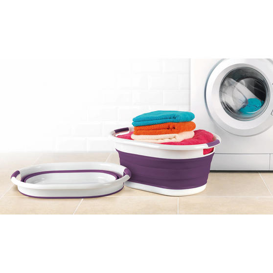 Beldray Purple Collapsible Laundry Washing Basket with 20 XL Soft Grip Pegs Thumbnail 2