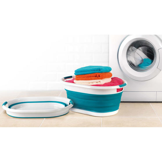 Beldray Turquoise Collapsible Laundry Washing Basket with 20 XL Soft Grip Pegs Thumbnail 2