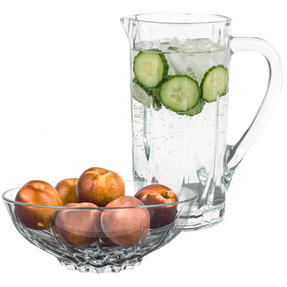 RCR COMBO-3108 Twist Crystal Collection Glass Water and Cocktail Jug with Decorative Fruit Bowl