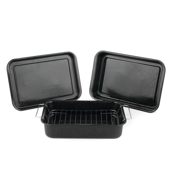 Russell Hobbs COMBO-1970 Romano Vitreous Enamel Baking Tray, Roaster and Roaster with Rack