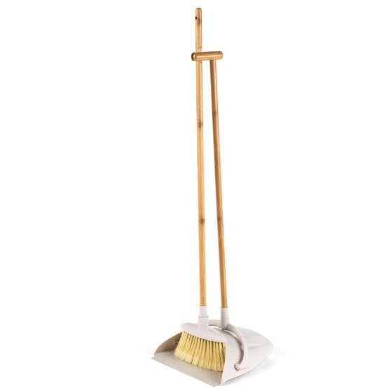 Beldray Long Handled Dustpan and Brush Set, Bamboo Thumbnail 1
