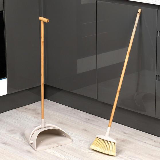 Beldray Long Handled Dustpan and Brush Set, Bamboo Thumbnail 2