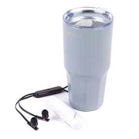 Commuter Accessories COMBO-3056 Intempo Bluetooth Metallic Look Earphones with White Power Bank and Progress Travel Mug