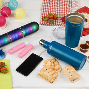 Festival / Picnic Pack COMBO-3060 with LED BT Capsule Speaker, Pink Power Banks, Travel Cup and Insulated Bottle Thumbnail 4