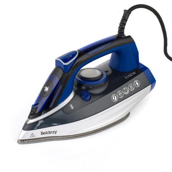 Beldray Ultra Ceramic Steam Iron with Dual Soleplate Technology, 3100 W, 300 ml, Blue/Black
