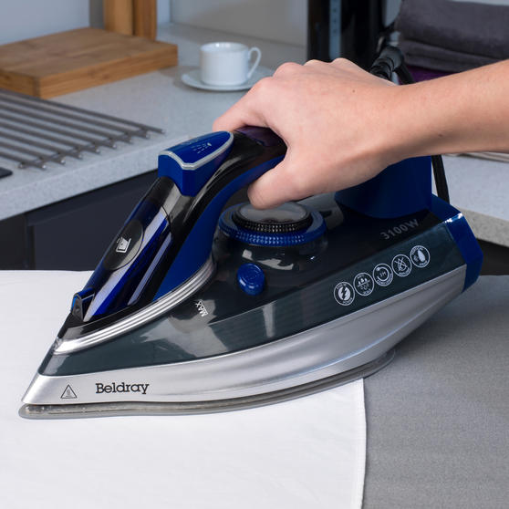 Beldray MAX Steam Iron, 3100 W, 400ml Easy Fill Tank, Blue / Black Thumbnail 7
