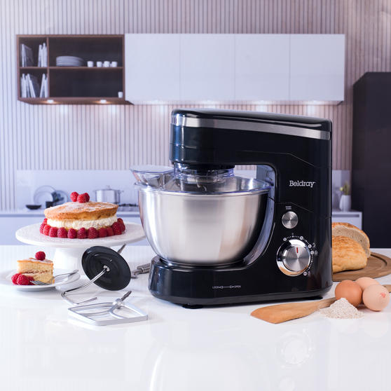 Beldray Stand Mixer with Whisk, Beater and Dough Hook Attachments, 800 W, Black Thumbnail 3