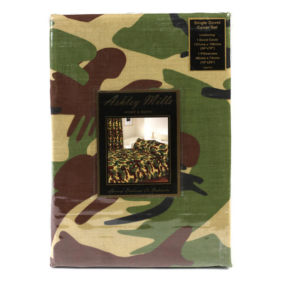 Camouflage 771427 Single Duvet Cover Set, Green Camouflaget