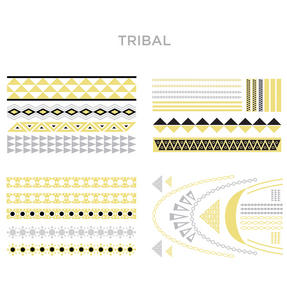 JML V08116 Hot Jewels Temporary Festival Tattoos, Tribal, Gold/Silver