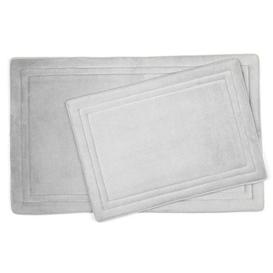 Beldray MFBEL20036CHEUPMIL Memory Foam Bath and Shower Mat Set, Chrome Grey