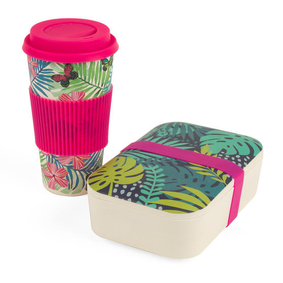 Cambridge COMBO-3081 Bamboo Lunch Goals Lunchbox Storage with 20oz Tropical Forest Travel Mug