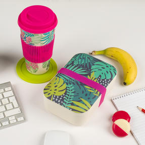 Cambridge COMBO-3081 Bamboo Lunch Goals Lunchbox Storage with 20oz Tropical Forest Travel Mug Thumbnail 2