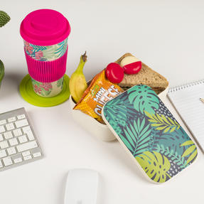 Cambridge COMBO-3081 Bamboo Lunch Goals Lunchbox Storage with 20oz Tropical Forest Travel Mug Thumbnail 3