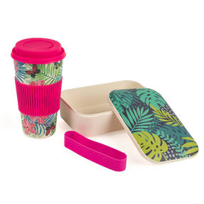 Cambridge COMBO-3081 Bamboo Lunch Goals Lunchbox Storage with 20oz Tropical Forest Travel Mug Thumbnail 9