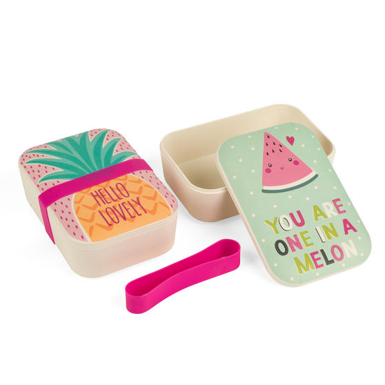 Cambridge COMBO-3082 Bamboo Pineapple Lovely and One In A Melon Lunchboxes Storage, Set of 2