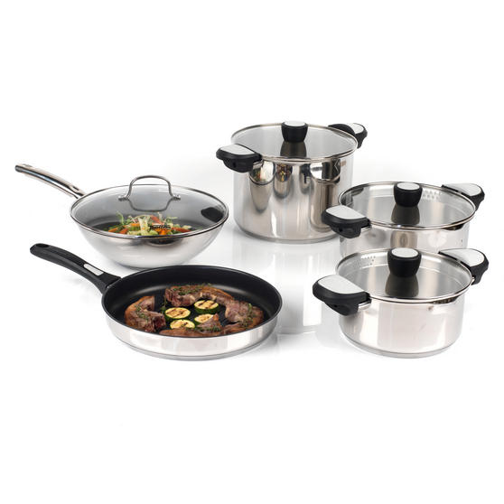 Thomas Rosenthal COMBO-3172 Stainless Steel Cookware with Wok, Grill Pan, Casseroles and Stock Pot