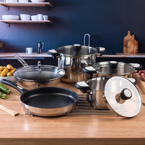 Thomas Rosenthal COMBO-3172 Stainless Steel Cookware with Wok, Grill Pan, Casseroles and Stock Pot Thumbnail 3