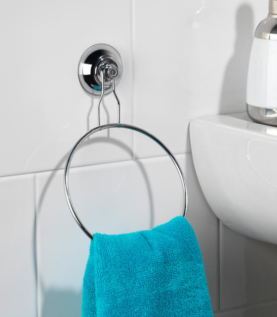 Beldray Bathroom Suction Towel Ring, Set of 2, Chrome Thumbnail 4