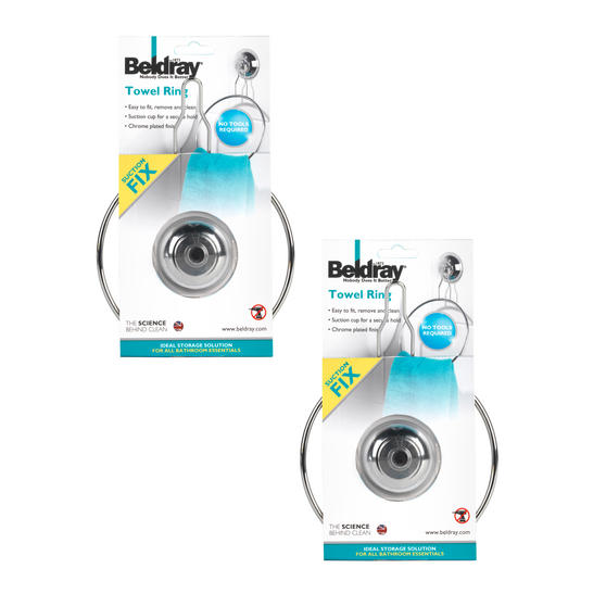 Beldray Bathroom Suction Towel Ring, Set of 2, Chrome Thumbnail 5