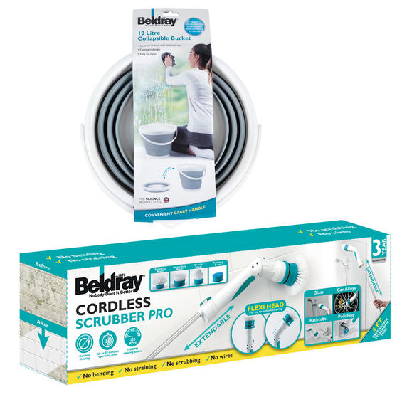 Beldray Cordless Scrubber Pro with Grey Collapsible Bucket Main Image 2