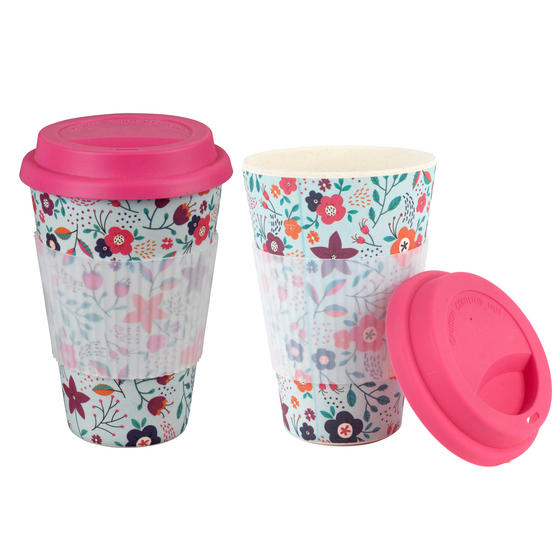 Cambridge Bamboo Poppy Flowers Eco Travel Mug, Set of 2