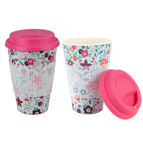 Cambridge COMBO-3187 Bamboo Poppy Flowers Eco Travel Mug, Set of 2 Thumbnail 1