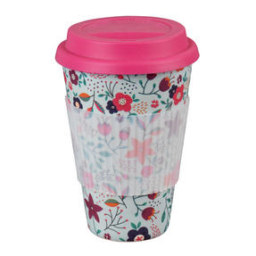 Cambridge COMBO-3187 Bamboo Poppy Flowers Eco Travel Mug, Set of 2 Thumbnail 2