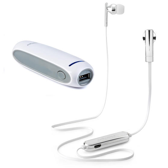 Intempo Metallic Look Bluetooth Earphones with 2200mAh Power Bank, Silver / White