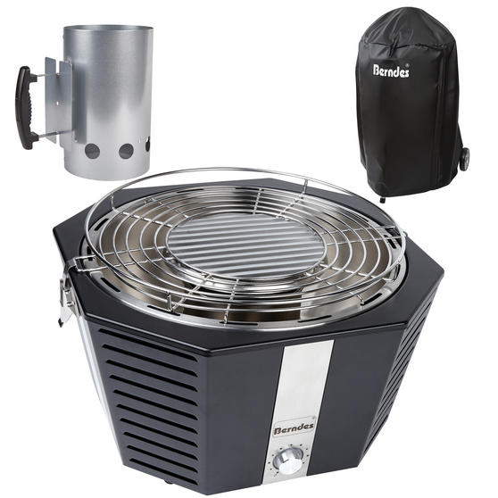 Berndes COMBO-3193 Portable Fan Assisted Smokeless Grill with BBQ Charcoal Starter and Waterproof Grill Cover