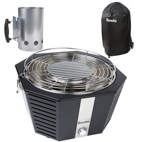 Berndes COMBO-3193 Portable Fan Assisted Smokeless Grill with BBQ Charcoal Starter and Waterproof Grill Cover Thumbnail 1