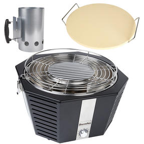 Berndes COMBO-3194 Portable Fan Assisted Smokeless Grill with Pizza Stone and BBQ Charcoal Starter