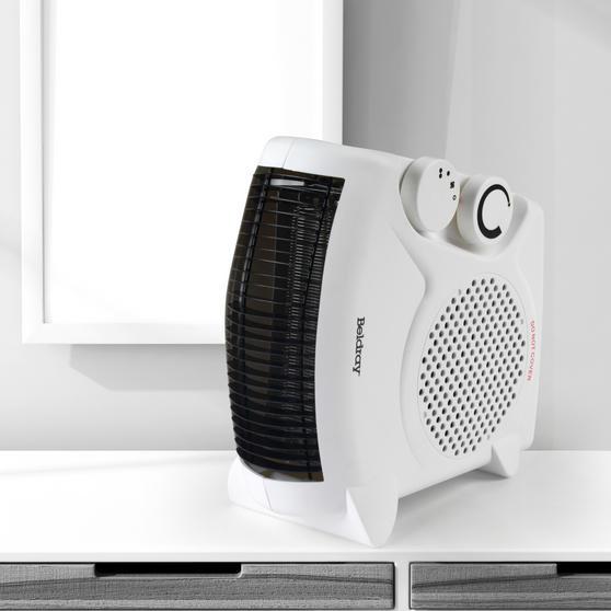 Beldray Flat Fan Heater, 1000/2000 W Settings, White Main Image 2