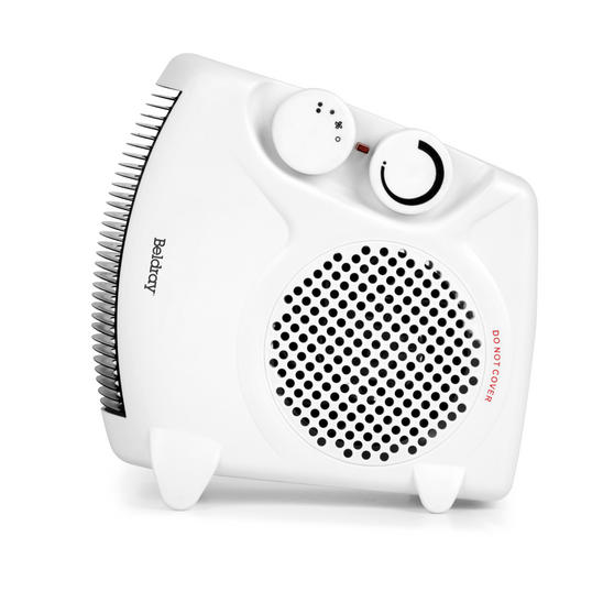 Beldray Flat Fan Heater, 1000/2000 W Settings, White Main Image 4