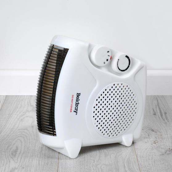 Beldray Flat Fan Heater, 1000/2000 W Settings, White Main Image 8