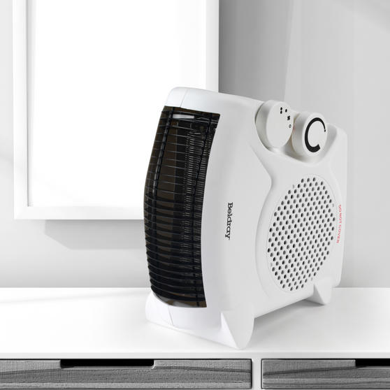 Beldray Flat Fan Heater, 1000/2000 W Settings, White Thumbnail 2
