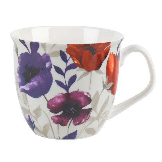 Cambridge CM057161 Oxford Red Poppy Fine China Mug, Set of Eight