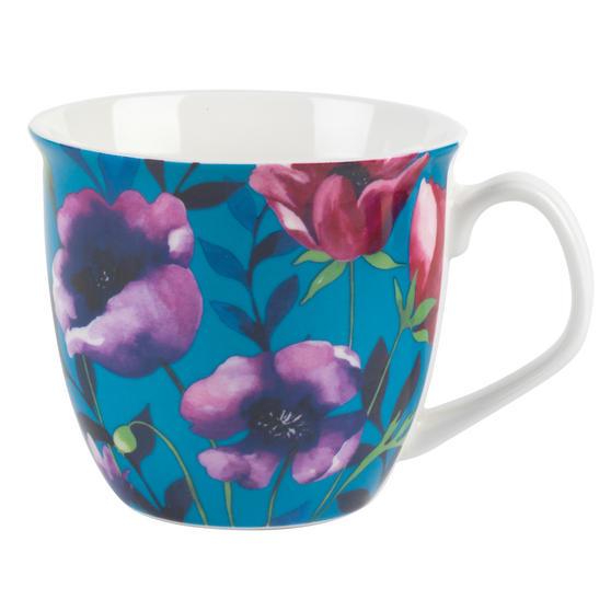 Cambridge CM057171 Oxford Teal Poppy Fine China Mug, Set of Eight