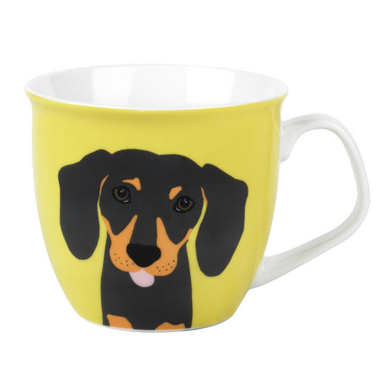 Cambridge CM057081 Oxford Puppy Pal Daschund Fine China Mug, Set of Two
