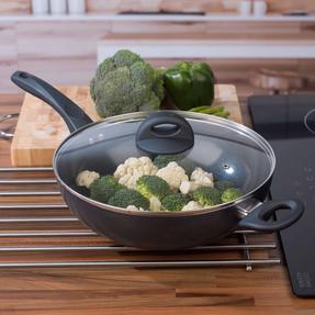 Russell Hobbs COMBO-2102 Ceramic Non Stick Frying Pan and Wok Set, 28 CM, Grey Thumbnail 6