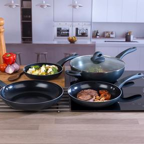 Russell Hobbs COMBO-2105 4 Piece Ceramic Non Stick Frying Pan and Wok Set, Grey Thumbnail 2