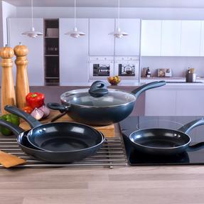 Russell Hobbs COMBO-2105 4 Piece Ceramic Non Stick Frying Pan and Wok Set, Grey Thumbnail 5
