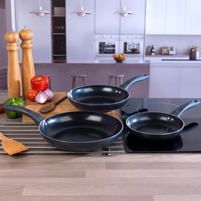 Russell Hobbs COMBO-2105 4 Piece Ceramic Non Stick Frying Pan and Wok Set, Grey Thumbnail 7