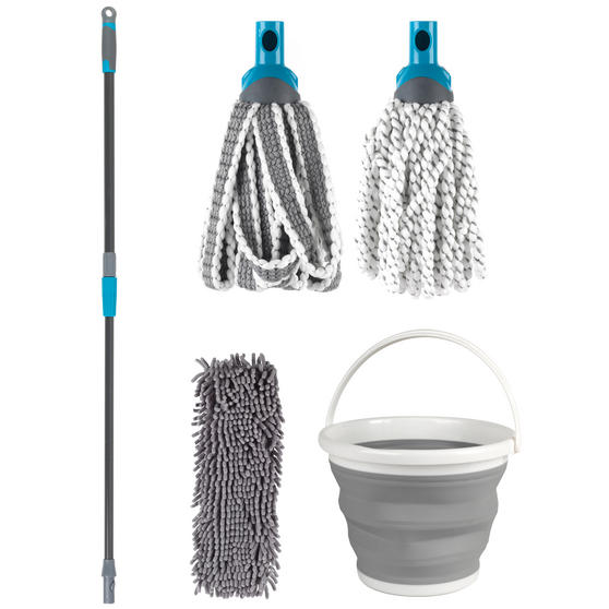 Beldray Click and Connect Set with Microfibre / Chenille Mops and Collapsible Bucket